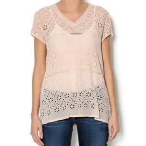 JOHNNY WAS PINK TIERED EYELET TOP GORGEOUS SIZE XS